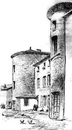 Le château de Chazelles avec ses tours. extrait d'un dessin paru dans Le Progrès
