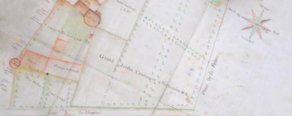 détail d'un plan de ville montrant la rue de l'hôpital, la tour Jean Besson, une tour du château et l'ancienne Poterne