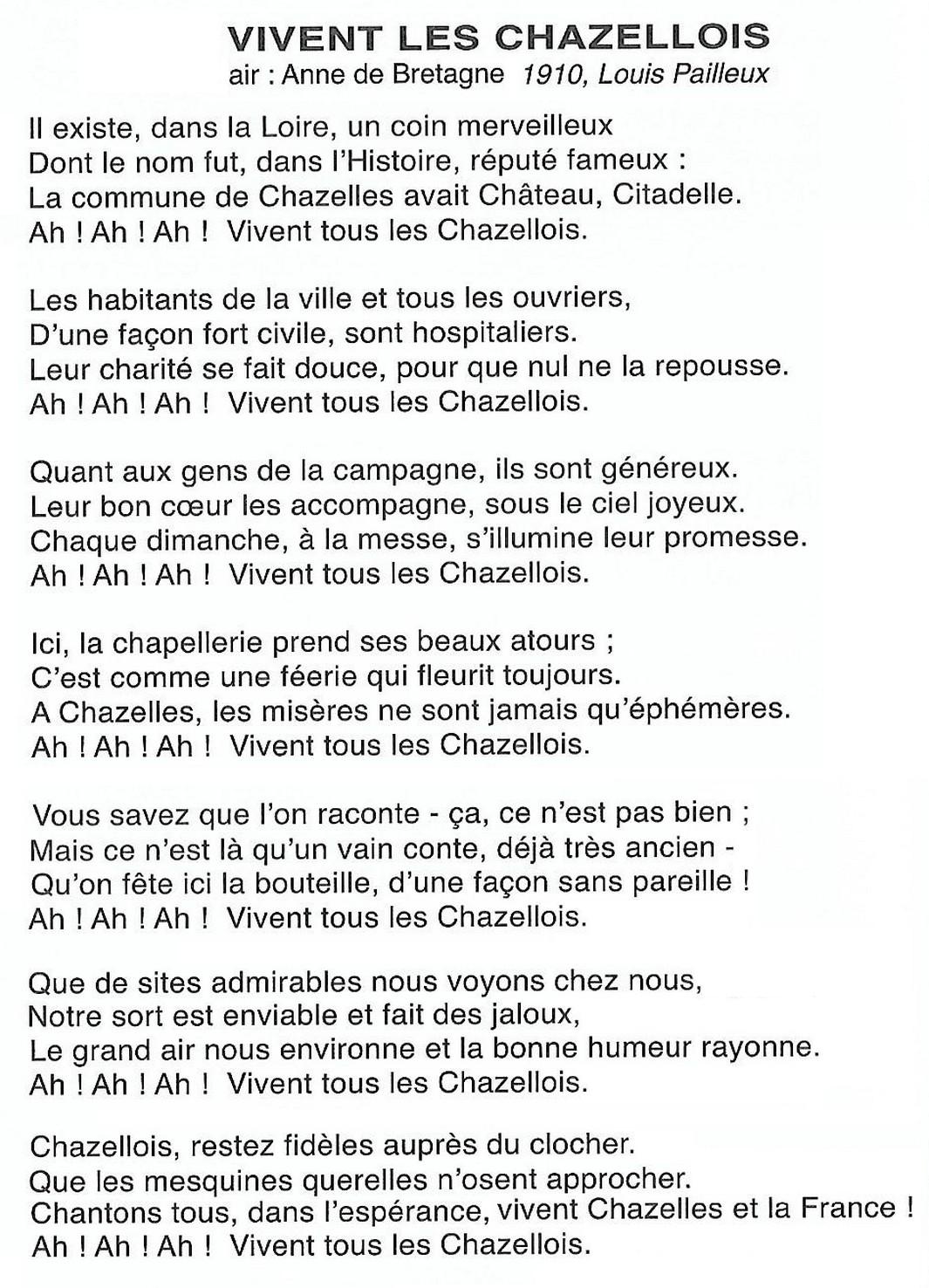 Chansons De Chazelles Patrimoine Et Histoire De Chazelles Sur Lyon